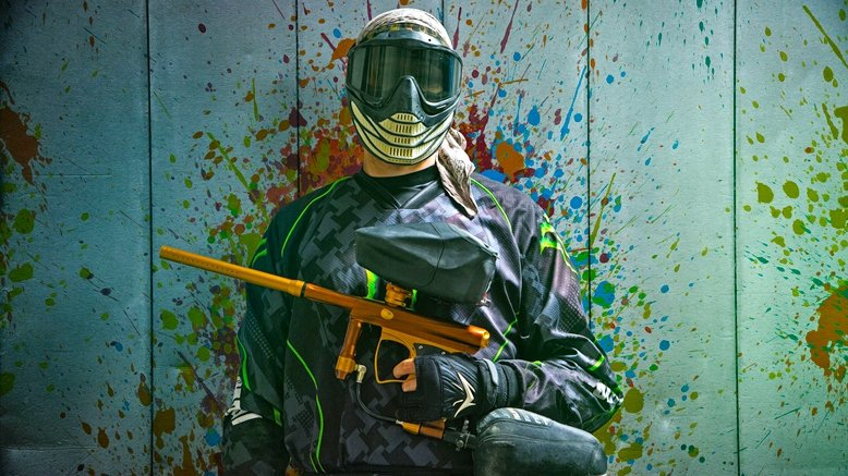 All-Day Paintball Package with paintball gun, goggles, an air tank with unlimited refills & 200 paintballs