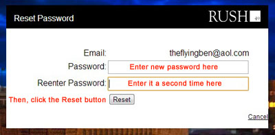 Rush49 Reset password